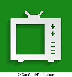 TV sign illustration. Vector. Paper whitish icon with soft shadow on green background.