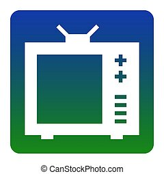 TV sign illustration. Vector. White icon at green-blue gradient square with rounded corners on white background. Isolated.