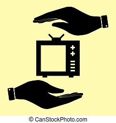 Save or protect symbol by hands. - TV sign. Save or protect...