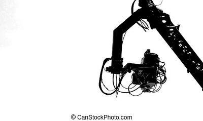 tv, -, silhouette., appareil photo, grue, hd