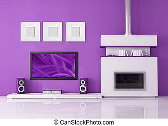 tv, sistema, caminetto, contemporaneo, casa, bianco