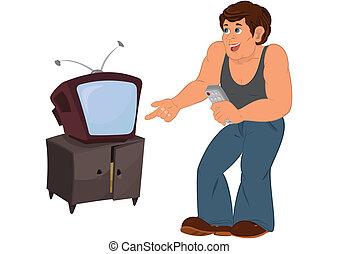 tv, sleeveless, 灰色, 老人, 地位, 上, 漫画