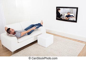 tv, sofá, homem, observar