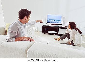 tv, sofá, par, observar