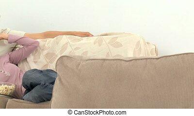 tv, sofa, couple, regarder