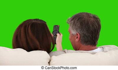 tv, sofa, couple, retiré, regarder