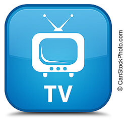 TV special cyan blue square button