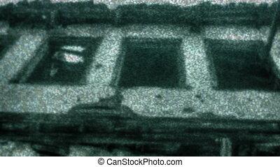 tv, spooky, écran, vieux, maison