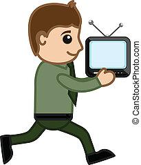 tv, spring, vektor, man