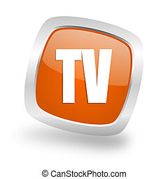 tv square orange glossy chrome silver metallic web icon