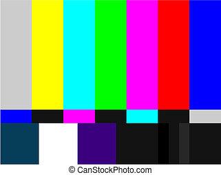 tv, staaf, gekleurde, signaal