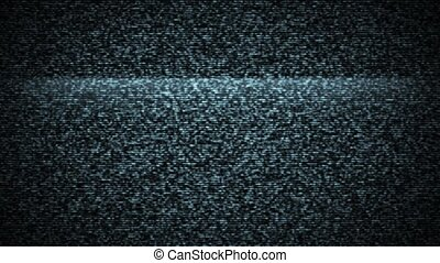 Computer generated television static with scan lines and sound