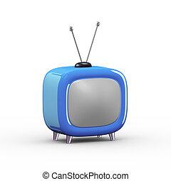 tv, stijl, spotprent, illustratie, 3d