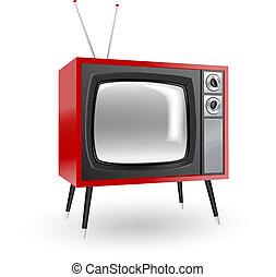 tv, stilig, retro
