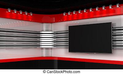 Tv Studio. Backdrop for TV shows .TV on wall. News studio....