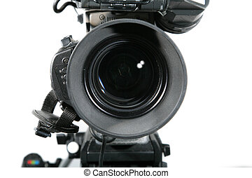 Television Studio Camera Lens Against White Background