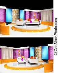 tv studio design - 3d rendering tv studio design