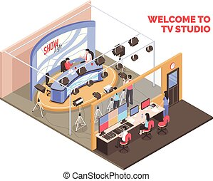 Live tv show with two anchormen broadcasting from studio isometric concept on white background 3d vector illustration