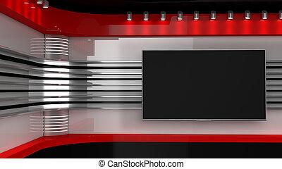 Tv Studio. News studio. News Room