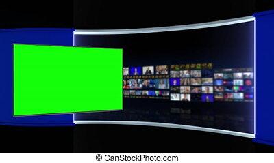 Tv Studio. Studio. News studio. Newsroom Background for News Broadcasts. Blurred of studio at TV station. News channel design. Control room. 3D rendering. Green screenstudio at TV station. News channel design. Control room. 3D rendering. Green screen
