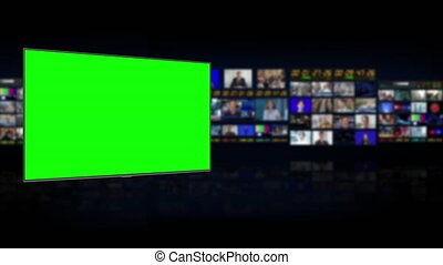 Tv Studio. Studio. News studio. Newsroom Background for News Broadcasts. Blurred of studio at TV station. News channel design. Control room. 3D rendering. Green screen