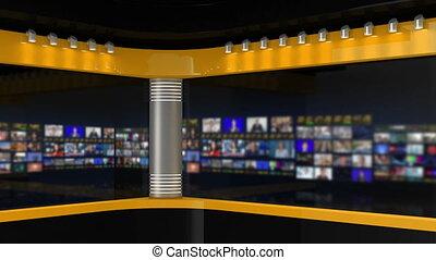 Tv Studio. Studio. News studio. Newsroom Background for News Broadcasts. Blurred of studio at TV station. News channel design. Control room. 3D rendering