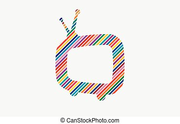 tv, symbole., conception couleur, retro, logo, logo.