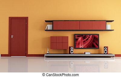 tv, systeem, salon, lcd, sinaasappel, audio, rood