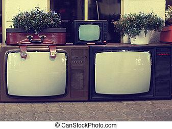 tv, szüret, állhatatos, öreg, retro