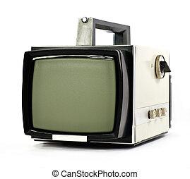 tv, szüret, állhatatos, hordozható