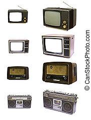 tv, szüret, elszigetelt, berendezés, rádió, háttér, fehér