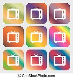 tv, tã©lã©viseur, vieux, icône