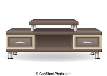 tv, tabela, ilustração, mobília