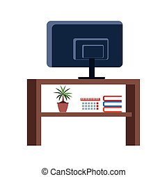 tv table with ornaments icon, flat design