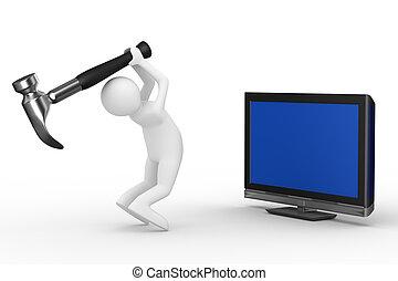 tv, technisch, service., vrijstaand, 3d, beeld