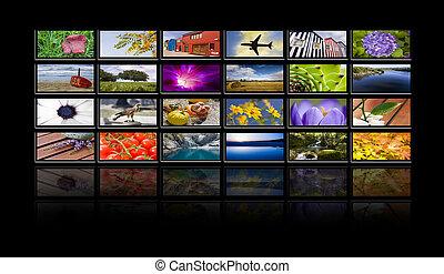 tv, telas, com, reflexões, ligado, experiência preta