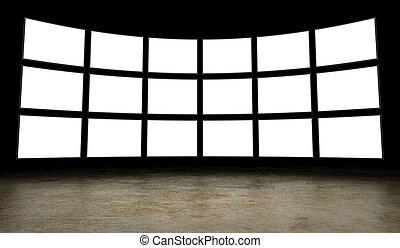 tv, telas, vazio