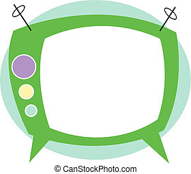 T.V. or Television in retro or vintage 1950s cartoon style clip art