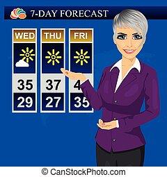tv, tempo, repórter notícia, meteorologist, anchorwoman, elaboração do relatório, ligado, monitor, tela