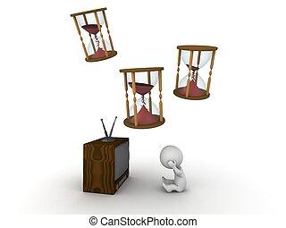 tv, temps, 3d, homme, meurtre