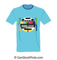 tv, teste, ligado, camisa, vetorial