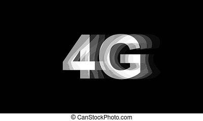 tv, texte, effet, déformation, glitch, animation, 4k, numérique, 4g, boucle