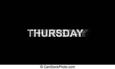 tv, texte, effet, jeudi, déformation, glitch, animation, 4k,...