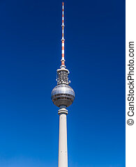 tv tower berlin with blue sky