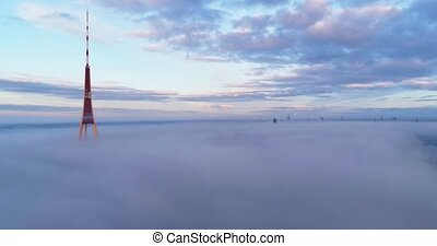 TV tower clouds flight above clouds - TV tower clouds drone...
