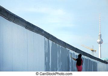 tv-tower, fal, berlin, elülső, festmény, szobafestő