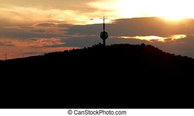 TV tower Hum sunset - TV tower in Sarajevo, Bosnia and...
