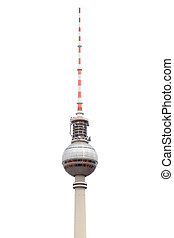 Tv tower in Berlin isolated on white, clipping path included