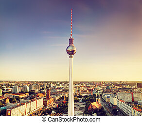 Tv tower or Fersehturm in Berlin, Germany at sunset