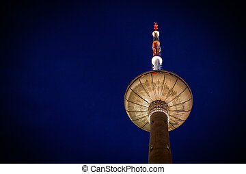 TV Tower at night. It is located in Vilnius, Lithuania